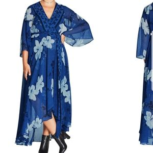 City chic maxi blue magnolia wrap dress 16